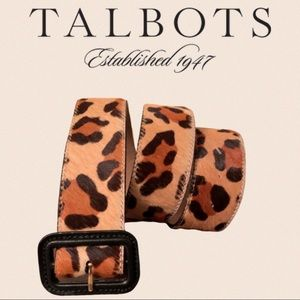 Talbots calf hair and leather leopard belt